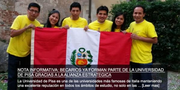 Becarios ya forman parte de la Universidad de Pisa gracias a la Alianza Estratégica